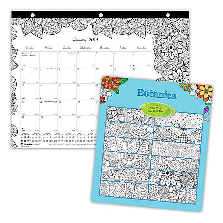 "Blueline® DoodlePlan™ Monthly Coloring Desk Pad, 8 1/2"" x 11"", 50% Recycled, FSC Certified, Botanica Design, January to December 2019"