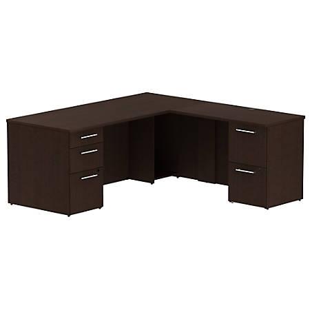 "Bush Business Furniture 300 Series L Shaped Desk With 2 Pedestals 72""W x 30""D, Mocha Cherry, Premium Installation"