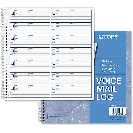 "TOPS Voice Message Log Book - 50 Sheet(s) - 24 lb - Spiral Bound - 8 1/2"" x 8 1/4"" Sheet Size - Blue Print Color - 1 Each"