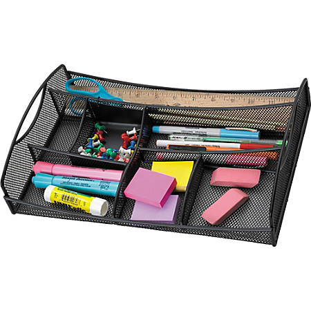 """Safco Mesh Drawer Organizer - 7 Compartment(s) - 2.8"""" Height x 13"""" Width x 8.8"""" Depth - Drawer - Black - Steel - 1Each"""