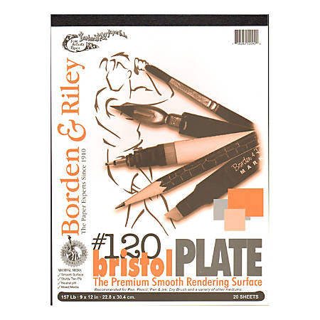 """Borden & Riley #120 Bristol Pad, Plate Finish, 9"""" x 12"""", 12 Sheets Per Pad"""