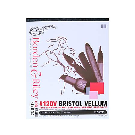 "Borden & Riley #120 Bristol Pad, Vellum Finish, 14"" x 17"", 12 Sheets Per Pad"