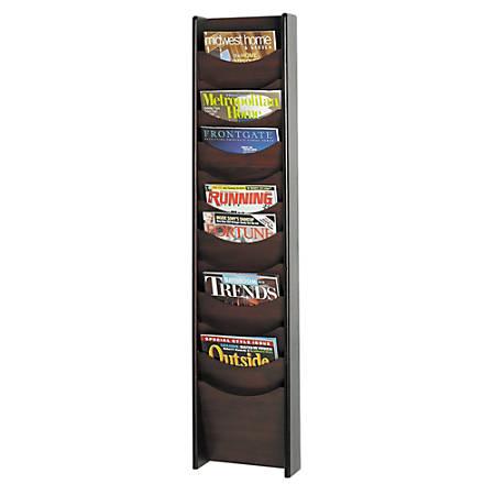 Safco® 12-Pocket Wood Literature Display Rack, Mahogany
