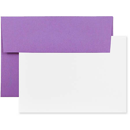 "JAM Paper® Stationery Set, 4 3/4"" x 6 1/2"", 30% Recycled, Violet/White, Set Of 25 Cards And Envelopes"