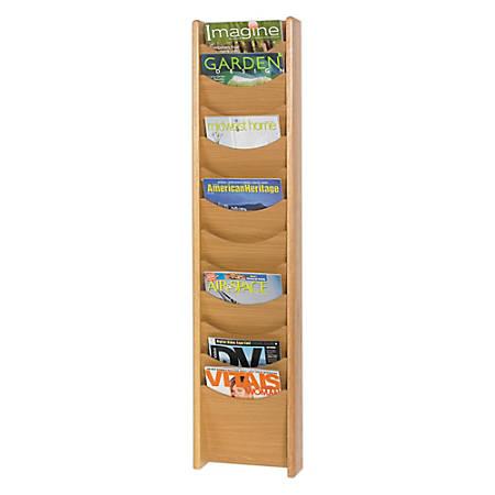 Safco® 12-Pocket Wood Literature Display Rack, Medium Oak