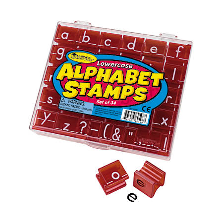 "Learning Resources® Lowercase Alphabet And Punctuation Stamps, 1"" x 1"", 34 Stamps Per Set, Pack Of 2 Sets"