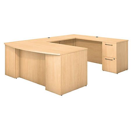 """Bush Business Furniture 300 Series Bow Front U Shaped Desk With 2 Drawer And 3 Drawer Pedestals, 72""""W x 36""""D, Natural Maple, Premium Installation"""