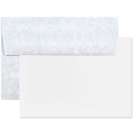 """JAM Paper® Stationery Set, 4 3/4"""" x 6 1/2"""", 30% Recycled, Blue/White, Set Of 25 Cards And Envelopes"""