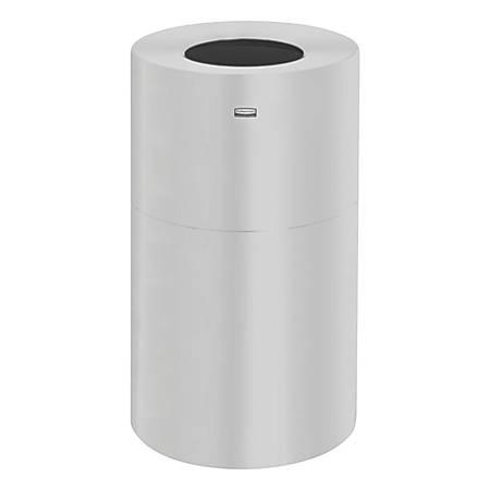 Rubbermaid® Commercial Atrium™ Round Waste Container, Aluminum, 35 Gallons, Satin Aluminum