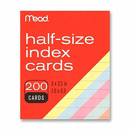 """Mead Printable Index Card - 3"""" x 2 1/2"""" - 200 / Pack - Assorted"""