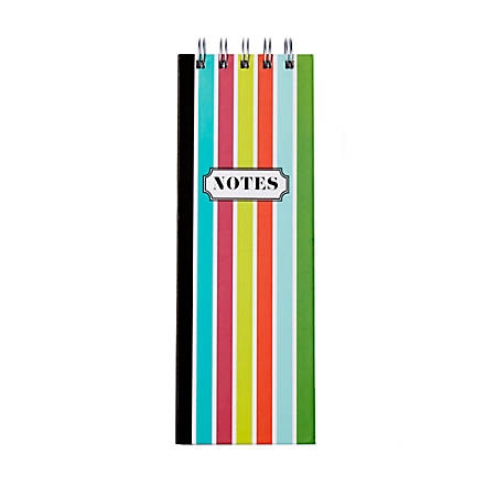 """Sincerely A Collection By C.R. Gibson® Twin-Wire List Pad, 3""""W x 8 3/4""""H, Faint Ruled, 300 Pages (150 Sheets), Rainbow"""