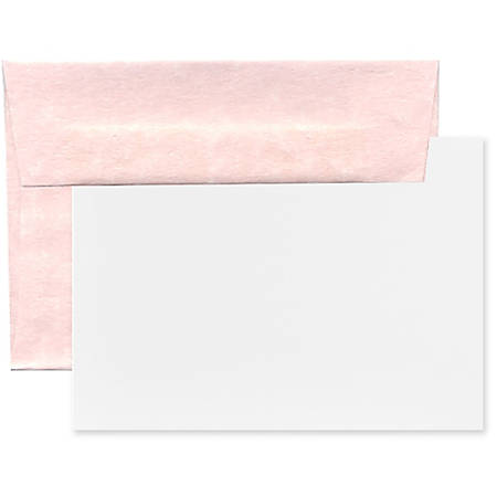 "JAM Paper® Stationery Set, 4 3/4"" x 6 1/2"", 30% Recycled, Pink/White, Set Of 25 Cards And Envelopes"