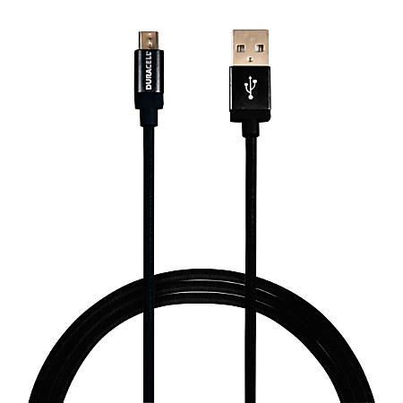 Duracell® Sync & Charge Cable, Micro USB, 6', Black, LE2288
