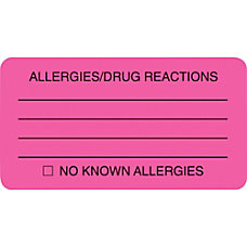 Tabbies Permanent AllergyDrug Reaction Label Roll