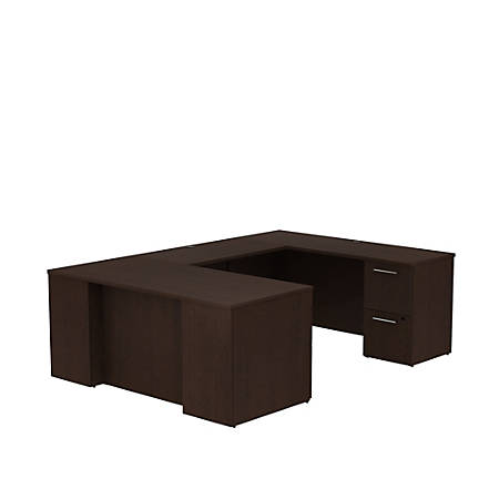 "Bush Business Furniture 300 Series U Shaped Desk With 2 Pedestals, 66""W x 30""D, Mocha Cherry, Premium Installation"