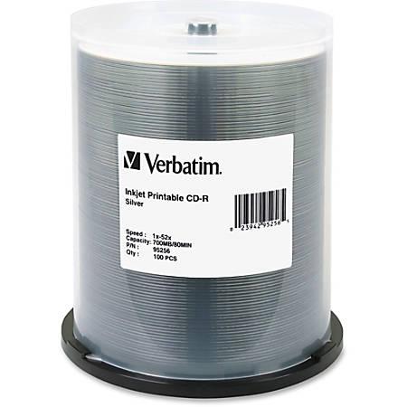 Verbatim® Inkjet-Printable CD-R Disc Spindle, Silver, Pack Of 100