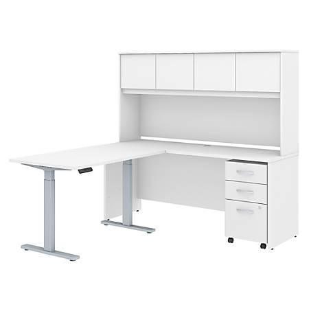 "Bush Business Furniture Studio C 72""W x 24""D L Shaped Desk with Hutch, 48""W Height Adjustable Return and Storage, White, Premium Installation"