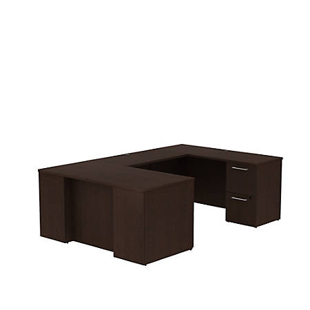 "Bush Business Furniture 300 Series U Shaped Desk With 2 Pedestals, 60""W x 30""D, Mocha Cherry, Premium Installation"