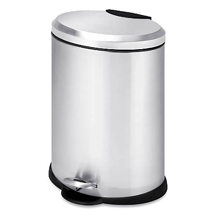 Honey-Can-Do Steel Step Trash Can, 3.2 Gallons, Stainless Steel