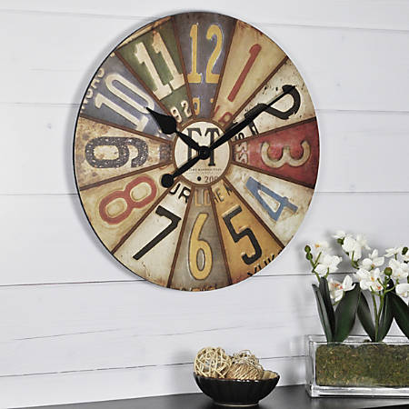 "FirsTime® Vintage Plates Wall Clock, 15 1/2"" x 1 1/2"", Multicolor"