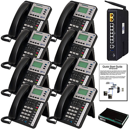 XBLUE® X-50 VoIP Wi-Fi Telephone System With 8 X3030 IP Phones