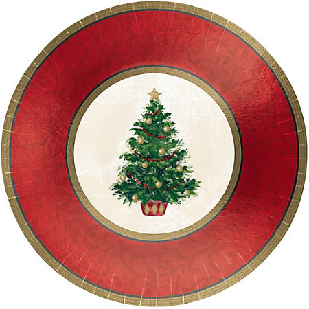 """Amscan Classic Christmas Tree Round Metallic Plates, 12"""", Red, 8 Plates Per Pack, Case Of 2 Packs"""