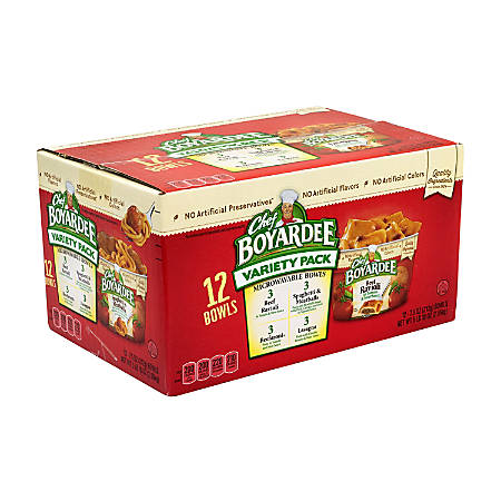 Chef Boyardee Microwavable Bowls, 7.5 Oz, Variety Pack Of 12 Bowls
