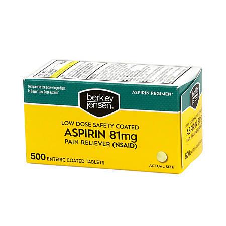 Berkley & Jensen Low-Dose Safety-Coated Aspirin, 81 mg, Pack Of 500