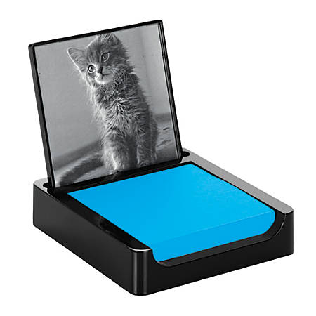 """Post-it® Note Holder With Photo Frame, 3"""" x 3"""", Black"""