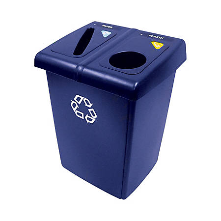"Rubbermaid® Half Glutton® Recycling Station, 35 2/5""H x 23 3/5""W x 36 4/5""D, 46-Gallon Capacity, Blue/White"