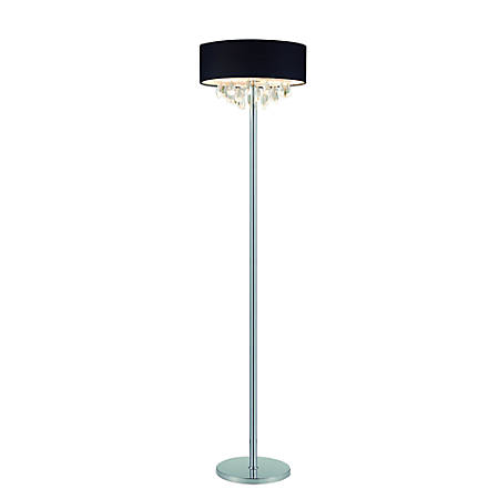 "Elegant Designs Romazzino Floor Lamp, 61 1/2""H, Black Shade/Chrome Base"