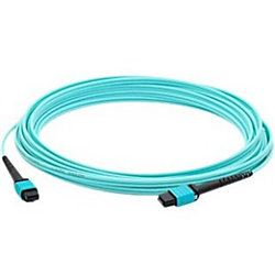 AddOn 10m MPO (Male) to MPO (Male) 12-strand Aqua OM3 Straight Fiber OFNR (Riser-Rated) Patch Cable - 100% compatible and guaranteed to work