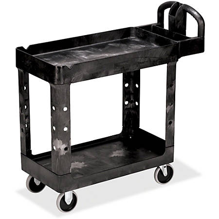 """Rubbermaid Commercial HD 2-Shelf Utility Cart with Lipped Shelf (Small) - 2 Shelf - 500 lb Capacity - 4 Casters - 5"""" Caster Size - Resin - 39"""" Length x 17.9"""" Width x 33.2"""" Height - Black"""