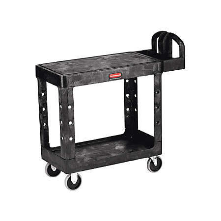 "Rubbermaid® Commercial Flat Shelf 2-Shelf Utility Cart, 33 1/3""H x 19 3/16""W x 37 7/8""D, Black"