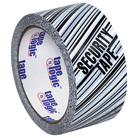 "Tape Logic® Security Tape, Security Tape, 3"" x 110 Yd., Black/White, Case Of 6"