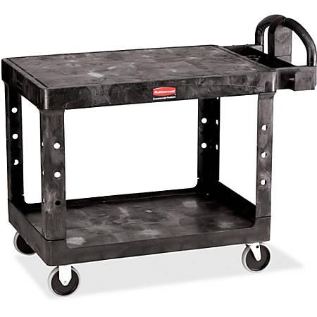"Rubbermaid 4525 HD 2-Shelf Utility Cart Flat Shelf (Med) - 2 Shelf - Push Handle Handle - 500 lb Capacity - 4 Casters - 5"" Caster Size - Foam, Resin, Polypropylene - 43.9"" Length x 25.9"" Width x 33.3"" Height - Black"