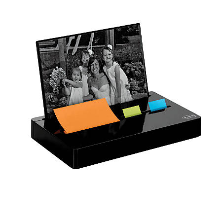 Post-it® Pop-Up Note And Flag Dispenser With Photo Frame, Black