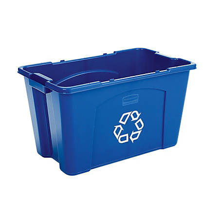 Rubbermaid® Commercial Rectangular Polyethylene Stacking Recycle Bin, 18 Gallons, Blue