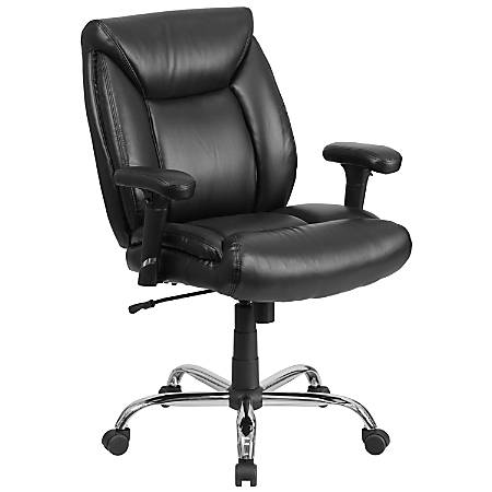 "Flash Furniture HERCULES Big & Tall Leather Mid-Back Swivel Task Chair With Adjustable Arms, 21"" Back Cushion, Black"