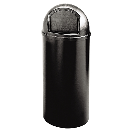 """Rubbermaid® Marshal Round Polyethylene Classic Waste Container, 15 Gallons, 36 1/2""""H x 15 1/2""""W x 15 1/2""""D, Black"""