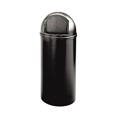 """Rubbermaid® Marshal Round Polyethylene Classic Waste Container, 25 Gallons, 42""""H x 18""""W x 18""""D, Black"""