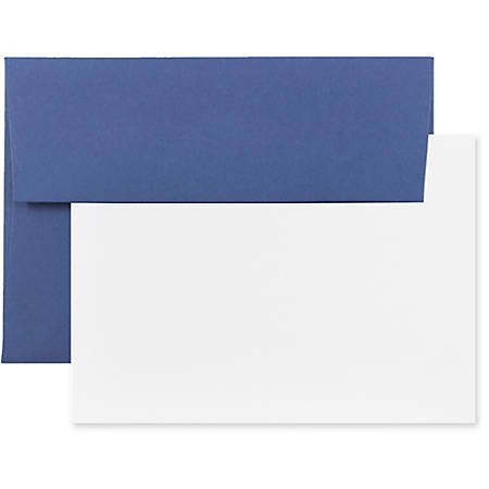 "JAM Paper® Stationery Set, 4 3/4"" x 6 1/2"", Presidential Blue/White, Set Of 25 Cards And Envelopes"
