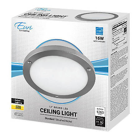 """Euri 12"""" Round LED Ceiling Light Fixture, Dimmable, 1,260 Lumens, 16 Watts, 3000K, Brushed Nickel/Alabaster Glass"""