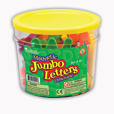 """Learning Resources Jumbo Magnetic Uppercase Letters, 2 1/2"""", Multicolor, Pack Of 40"""
