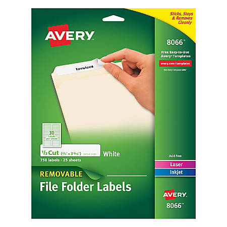 "Avery® Removable File Folder Labels, Inkjet, 8066, 2/3"" x 3 7/16"", White, Pack Of 750"