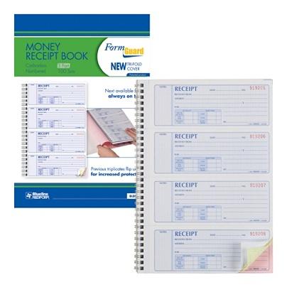 Money Receipt Book 7 x 2 3//4 Carbonless Triplicate 100 Sets//Book 6 Packs
