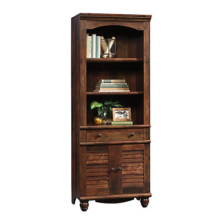 Sauder® Harbor View Bookcase With Doors And Drawer, 5-Shelf, Curado Cherry