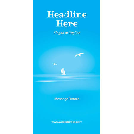 Custom Vertical Display Banner, Blue Beach