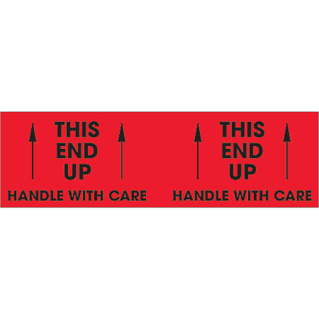 """Tape Logic® Preprinted Pallet Protection Labels, DL1195, 3"""" x 10"""", """"This End Up / Handle With Care"""", Fluorescent Red, Roll Of 500"""