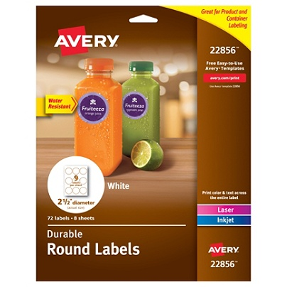 Avery® Print-To-The-Edge Water Resistant Labels, 22856, Round, 2 1/2